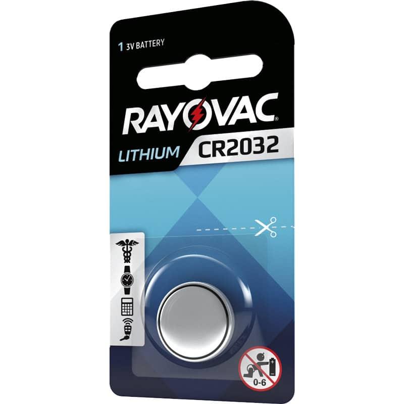 Batterier Rayovac CR2032 Litiumbatteri med högt energiinnehåll.